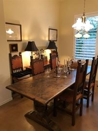 Refectory table with 8 beautiful  leather chairs.