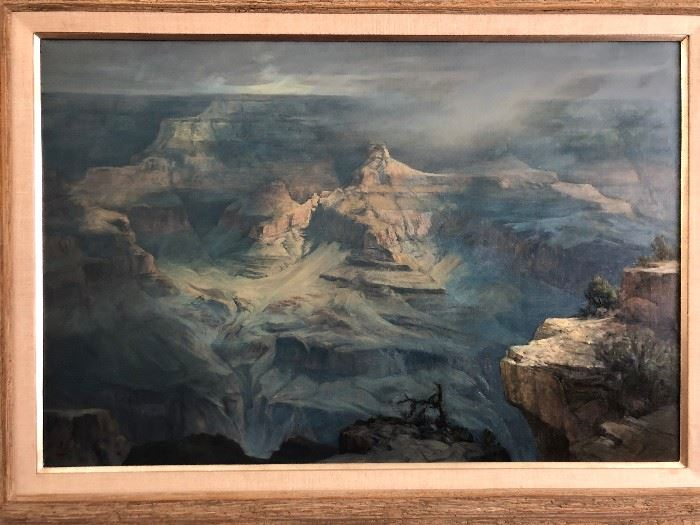 Grand oil on canvas painting of the of the Grand Canyon by C. Love.