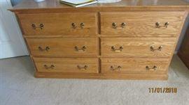 6 drawer quality oak wood dresser with mirror