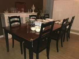 Ashley Furniture Large Farm Table with 6 Chairs (shown with leaf in)
