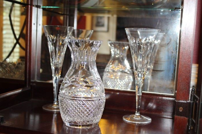 Vase by Galway, Ireland, and champagne flutes