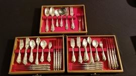 Wallace Grande Baroque sterling silver flatware set- service for 12 people.