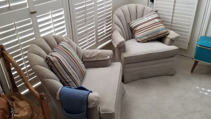 matching upholstered chairs - creamy beige color