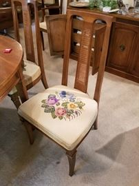 embroidered dining room chair - one of eight