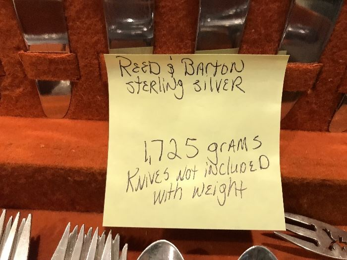 Reed & Barton sterling silver flatware set.  1,725 grams. knives nor carving set with stainless blades are not included in weight.