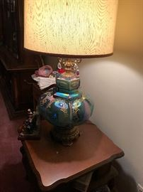 1950's Pair of three way Carnival Glass Lamps.  The base lights up as well