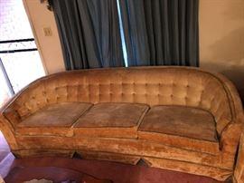 1960's Buttoned Velvet Sofa and Loveseat
