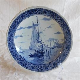 Large Plate - Blue and White Delfts Plate Made For Royal Sphinx Holland By Boch