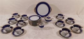 German Set of DESSERT Dinnerware Königl.pr.Tettau - Circa 1960s  This would have been a complete set for 12 but it is missing one tea cup so it is a complete for 11 plus extra pieces.