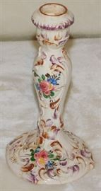 "ITALY 1723,  Antique Italian Majolica Candlestick holder, 7 "" high X 3 1/2 "" at base."