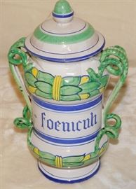 Marked underneath - ITALY FV  or ITALY 7V also the numbers  67107                                                                        Italian Jar with Lid and Two Abstract Handles. White, green & blue.  9.75 inches High X 6 inches Wide