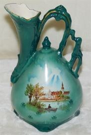 Green Water Pitcher, Vase, Ewer, with a Man in a boat Landscape, Made in Czechosolvakia.