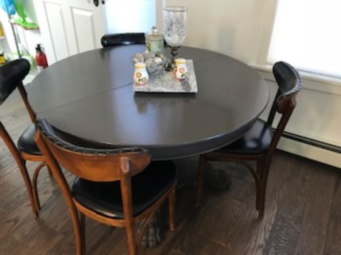 Painted antique claw foot dining table with leaves to seat 10