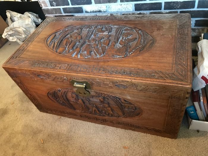 Great oriental carved to wood chest