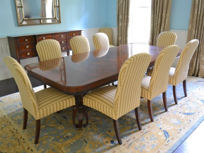Henredon double pedestal dining table and 10 Jessica Charles upholstered dining chairs