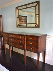 Henredon sideboard and beveled mirror