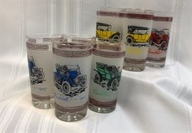 Vintage Automobile Drinking Glasses