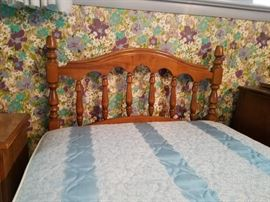 headboard, mattress, box spring and frame