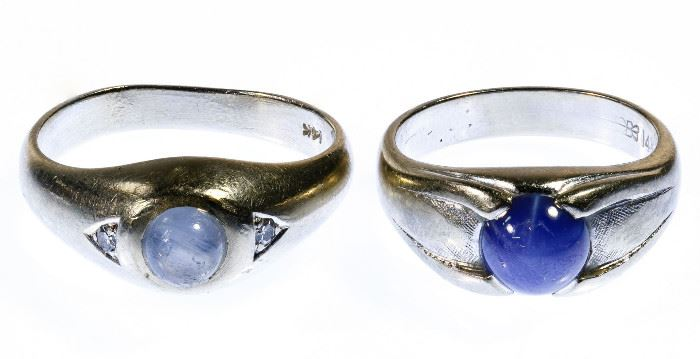 14k White Gold and Star Sapphire Rings