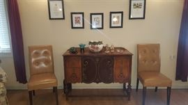 Beautiful Antique Sideboard, 2 Occasional Chairs, Artwork +