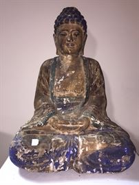 Carved Wood Buddha, old paint