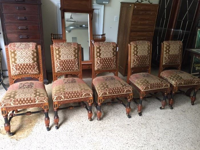 Set of Aesthetic Movement Chairs in original upholstery in very good condition