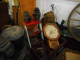 Vintage Items. Vintage Red/White Step Ladder. Vintage New Haven Regulator Clock. Glavanized Buckets. Vintage Ford Lanterns,