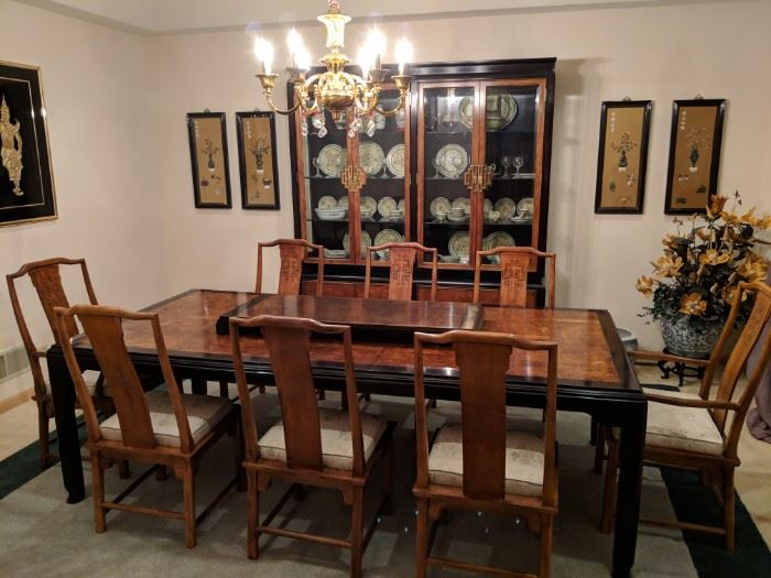 Dining Room table with 8 chairs, 1 leaf and table pads. Matching china cabinet.  Purchased at the merchandise Mart.  In like new condition!