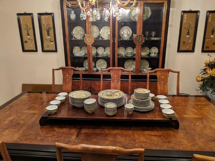 Mun Shou Longevity Yellow Pattern china set.