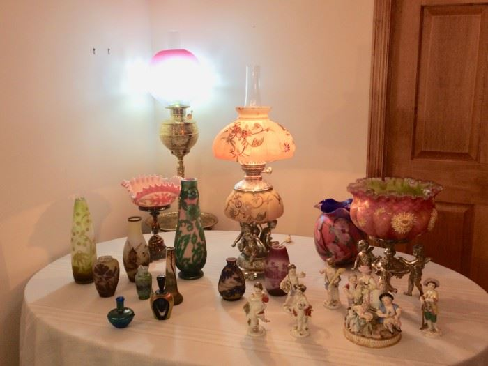 French Cameo Glass, Meissen, Lotton, Burmese Lamp, & Victorian Tazzas