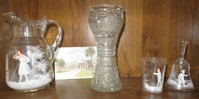 Antique Mary Gregory Hand Painted Glass Pitcher, Cup & Bell,  American Brilliant Cut Glass Vase,
