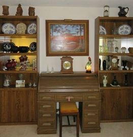 Pair of Book Shelves with bottom cabinet, Vintage Westinghouse Micarta Laminate Roll Top Desk