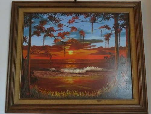 Signed Sunset Oil Painting by Gerald Taber