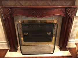 Art Deco, hand carved, Mahogany Fire Place Mantel