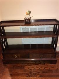 Mid-Century, Cherry decorative shelving with drawers.