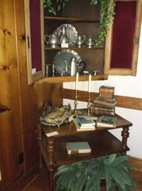 Early corner hanging cabinet and library table
