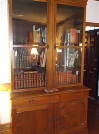Antique walnut secretary w/slide writing desk and antique books