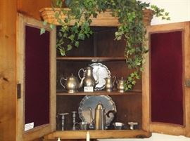 Pewter coffee and tea pots, trays, and candlesticks by Reed Barton, Leonard, and Steiff