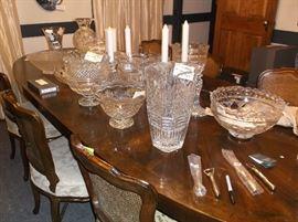 Waterford vases, bowls, candlesticks, etc.