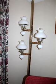 Vintage milk glass pole lamp