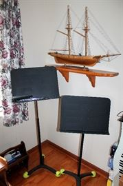Music stands, model ship