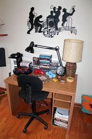 Desk, DVDs & CDs