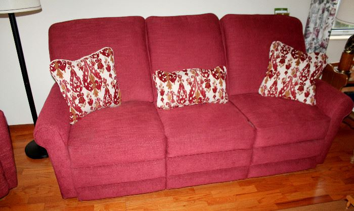 La-Z-boy upholstered reclining sofa - also have matching recliner chair. Like new!