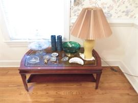 Dining Room-Leather top coffee table