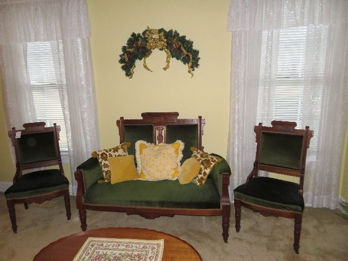 Living Room-East Lake Chairs and Settee Ensemble with velvet upholstery