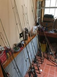small amount of the fishing poles