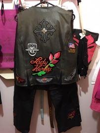 Back of Women's Harley Vest (Large) & Chaps