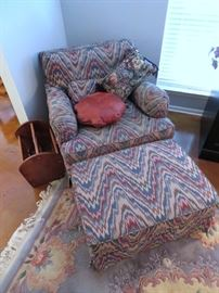 BEAUTIFUL UPHOLSTERED CHAIR AND OTTOMAN - SO COMFY!