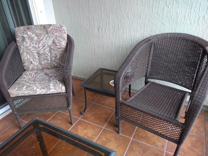Plastic wicker, used under cover