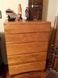 Blond bedroom furniture with 5 drawer dresser, see next photos